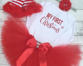 Baby Girl Christmas Outfit My First Christmas Tutu Baby Girl Christmas Dress Newborn Girl Christmas Outfit
