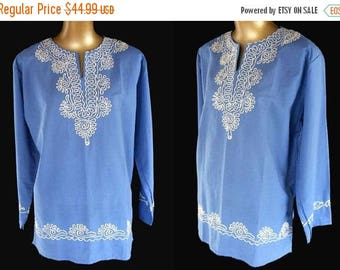 ON SALE Vintage 70s Embroidered Shirt Top Blouse - 1970s East Indian White on Blue Embellished Tunic- Size L Large