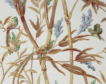 1950's Vintage Wallpaper - Green and Brown Birds and Blue Wildflowers