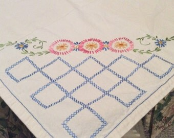 """Vintage Cotton Embroidered Tablecloth Flowers in Pastels with Blue Cross Stitch on Corners 46"""" Square Good Condition TB27"""