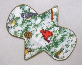 "7.25"" Liner - Winter Birds - Reusable Cloth Menstrual Pad (7LC)"