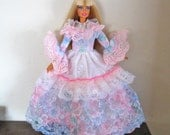 Barbie Dress Ruffled Pink and Blue Lace