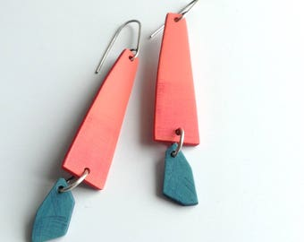 Geometric earrings, tropical colored earrings, summer fashion, beach inspired, bright colors, contemporary jewelry