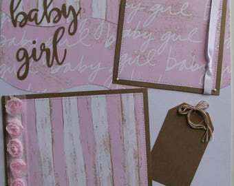 Baby girl...TWO completed 12x12 Premade Scrapbook pages