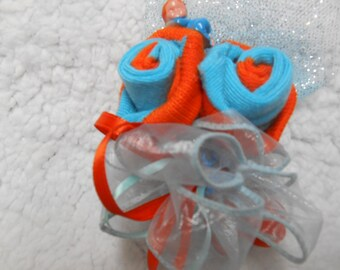 Corsage and Boutonniere  Blue or Any Pair Of Socks  Made Into Roses New