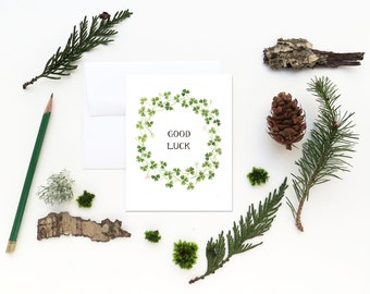 Good Luck Card / Shamrock Card / Four Leaf Clover Card / Lucky Card / Lucky Clover / Encouragement Card / St Patricks Day Card / Greeting