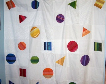 Handmade patchwork shower curtain with bright striped geometric shapes