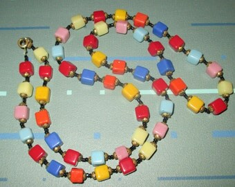 Sale!  Vintage MOD Multi-Color Colorful Square Glass Bead Necklace