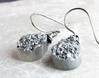 Gray   Druzy   Earrings  Oxidized Silver  Handmade Gemstone  Jewelry   Wire Wrapped Gifts For Her Gem Stone Earrings