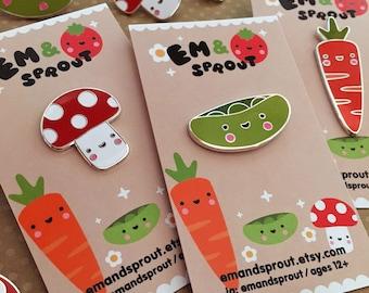 Veggie Enamel Pin - Mushroom, Pea Pod, Carrot