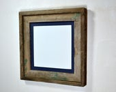 Square picture frame 10x10 with mat for 8x8 from repurposed wood complete