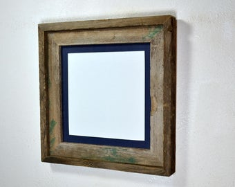 Rustic picture frame 10x10 with mat for 8x8 from upcycled wood complete
