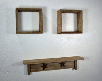 Rustic shelf set of 3 from eco friendly reclaimed wood