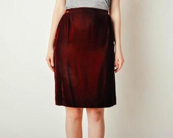 Vintage Maroon Velvet Skirt