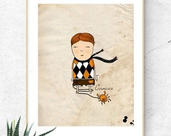 Astrology Art, Cancer, New Baby Gift, Baby Boy, Newborn Boy Nursery Print, Cancer Boy