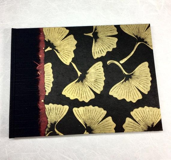 Rustic Guest Book-Perfect Guest Book Idea, Wedding Guest Book, Unique Guest Book,Keepsake Guest Book,Memorial Guest Book Black & Gold Gingko