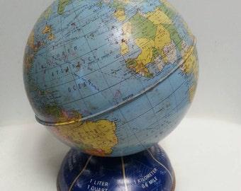 Vintage Ohio Art Tin Globe Bank