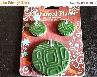 75% OFF SPRING CLEARANCE Enchanted Planet, Green Pendant Set