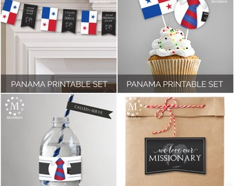 INSTANT DOWNLOAD - PANAMA -  Missionary Farewell Welcome Home Decoration Printable Set for Elders