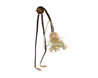 YOGA - Petal People blank greeting card - Botanical notecard of a yoga bend - Designed from pressed flowers & herbs - Pressed flower art