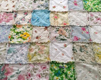 "Rag Quilt Vintage Flowers  76"" X 85"" Made From  Vintage Sheets Quilt Blanket Throw   Shabby Chic  Toddler Girl Teen  Mother's Day"