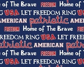 Patriotic Let Freedom Ring - Patriotic Fabric- Cotton Fabric- Springs Creative- USA- Valor- 4th of July- By the yard- By the half yard
