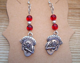 Mexican Skull Playing a Guitar Earrings MADE IN USA