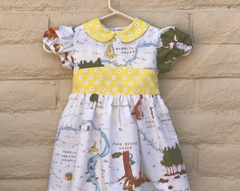 Toddler Girls Winnie The Pooh Peter Pan Collar White and Yellow Dress Sz 3