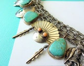 Vintage Sterling Silver and Turquoise Navajo Charm Bracelet