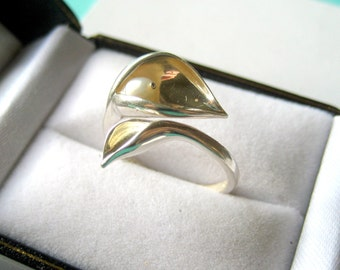 Sterling Silver Calla Lily Ring with Pearl Accent Size 7
