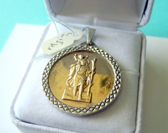 14kt Gold and Sterling Silver St Christopher Religious English Charm/Pendant