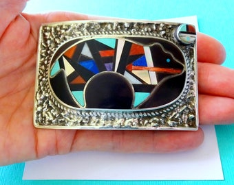 Zuni Sterling Silver and Multi-Stone Inlay Spirit Bear Belt Buckle