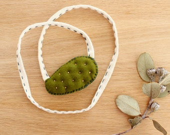 Embroidered Necklace . Jaunâtre Prickly Pear Necklace . Cactus Necklace . One of a Kind . Rope Necklace . Soft Tufted Necklace . Merino Wool