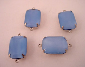 4 Vintage Blue Moonstone Glass Octagon Connectors 18x13 silver setting