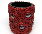 BlackFridaySale Filigree Votive Cup/ Vase, Black and Red, Polymer Clay over Glass