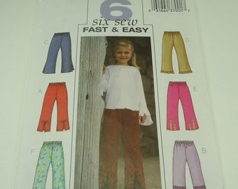 Butterick Children's/Girls' Pants Pattern 3955 Size 6, 7, 8 Six Sew Fast And Easy
