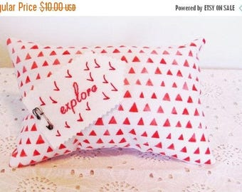 on sale small decorative pillow, red and pink geometric pattern pillow, inspirational pillow for teen
