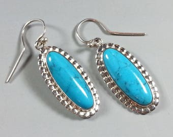 """Sterling Silver and Turquoise Set Stone Earrings with """"Beaded"""" Borders"""