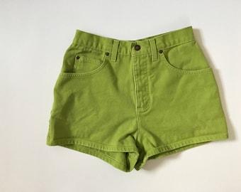 Vintage Lime Green Hot pants highwaist green jean shorts colored denim shorts Short shorts