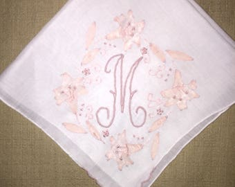 Vintage White Hanky with a Pink Initial M - Handkerchief Hankie