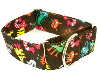 Little Monsters Dog Collar - Martingale & Buckle 3/4 - 2 Inch Width