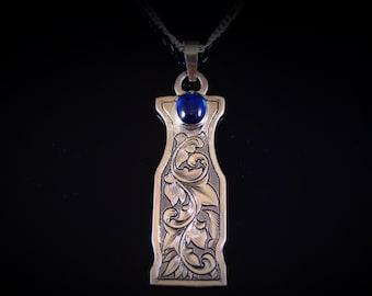 Hand Engraved Art Nouveau Blue Spinel Sterling Silver Necklace