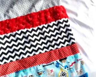 Pirate Blanket, Toddler Boy, Red, Black, Boys Room