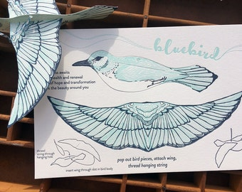 letterpress pop-out bluebird card