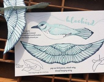 letterpress pop-out bluebird card