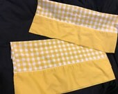 Pair of Vintage Penn Prest Fashion Manor from JC Penney Yellow and White Gingham Check Poly Cotton Blend Muslin Pillowcases
