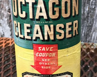 Antique/Vintage Octagon Cleanser Cardboard and Tin Container