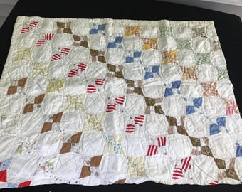 Vintage Hand Quilted Snowball Pattern Cutter Quilt Piece