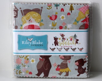 "SALE 5"" inch squares GOLDILOCKS charm pack fabric by Riley Blake by Jill Howarth"