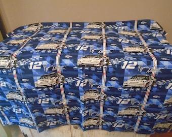 Blue gray plaid Nascar fabric / material, Ryan Newman, number 12 / Mobile, Dodge, Miller racing fabric